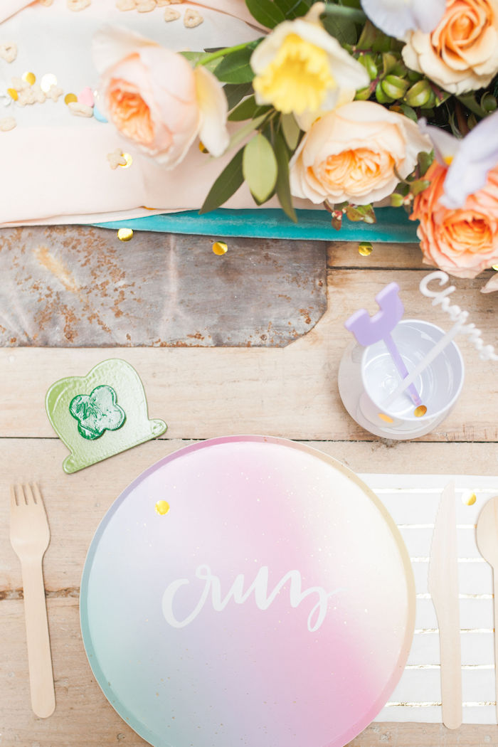 Personalized Ombre Table Setting from a Lucky Charms St. Patrick's Day Party on Kara's Party Ideas | KarasPartyIdeas.com (16)