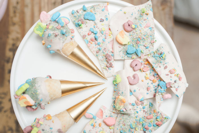 Lucky Charms Dessert Bark + Cones from a Lucky Charms St. Patrick's Day Party on Kara's Party Ideas | KarasPartyIdeas.com (13)