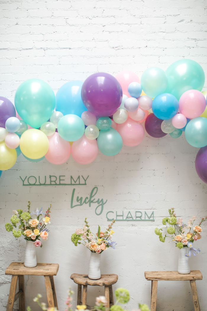 You're My Lucky Charm Flower + Balloon Backdrop from a Lucky Charms St. Patrick's Day Party on Kara's Party Ideas | KarasPartyIdeas.com (35)