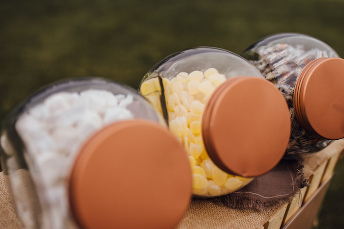 Candy Jars from a Modern Rustic Prairie Girl Party on Kara's Party Ideas | KarasPartyIdeas.com (40)