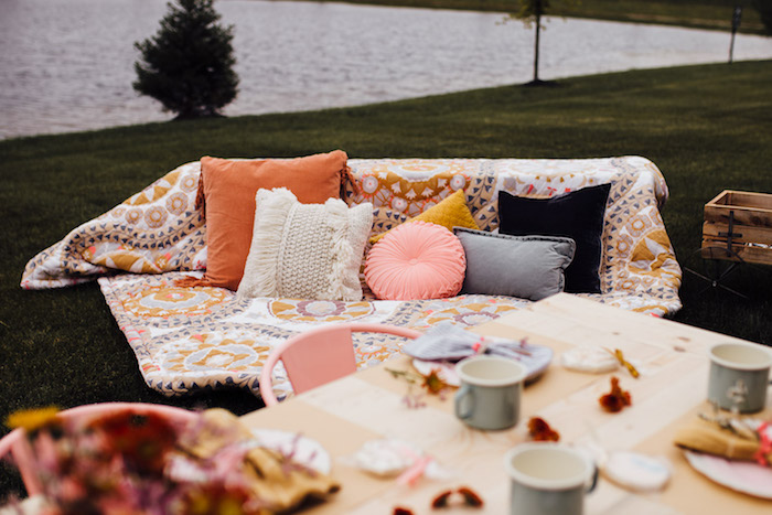 Pillow & Blanket Lounge from a Modern Rustic Prairie Girl Party on Kara's Party Ideas | KarasPartyIdeas.com (39)