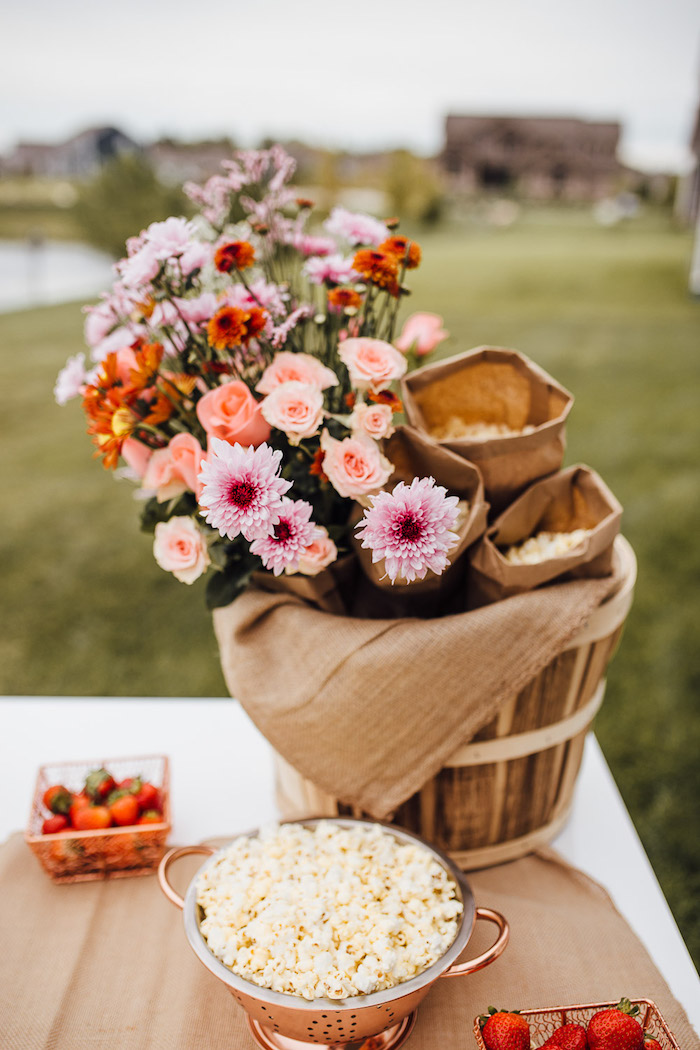 Beautiful Basket Floral Arrangement from a Modern Rustic Prairie Girl Party on Kara's Party Ideas | KarasPartyIdeas.com (31)