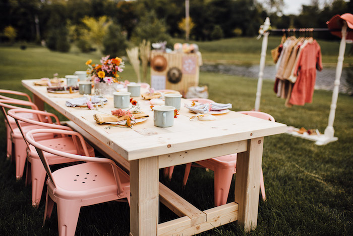 Rustic Prairie Girl Party Table from a Modern Rustic Prairie Girl Party on Kara's Party Ideas | KarasPartyIdeas.com (30)