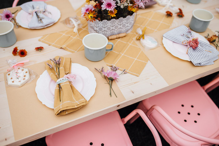 Prairie Girl Table Settings from a Modern Rustic Prairie Girl Party on Kara's Party Ideas | KarasPartyIdeas.com (27)