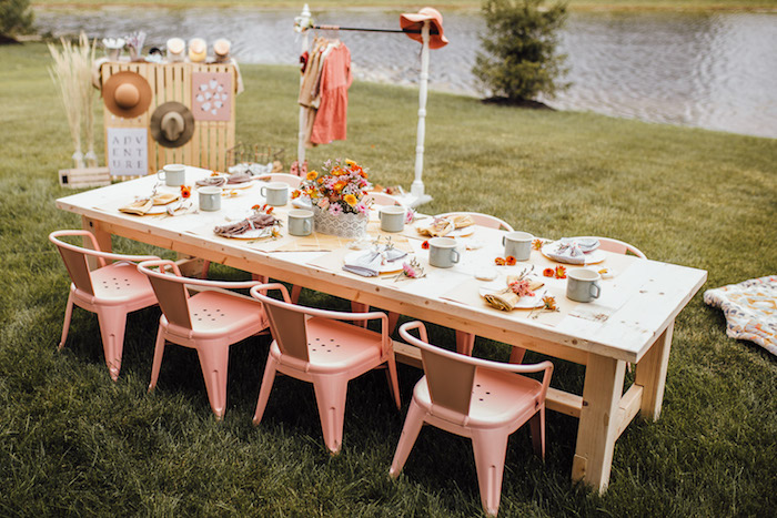 Prairie Themed Kid Table from a Modern Rustic Prairie Girl Party on Kara's Party Ideas | KarasPartyIdeas.com (24)