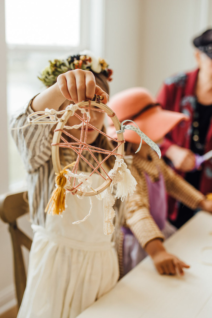 Dreamcatcher Craft from a Modern Rustic Prairie Girl Party on Kara's Party Ideas | KarasPartyIdeas.com (21)