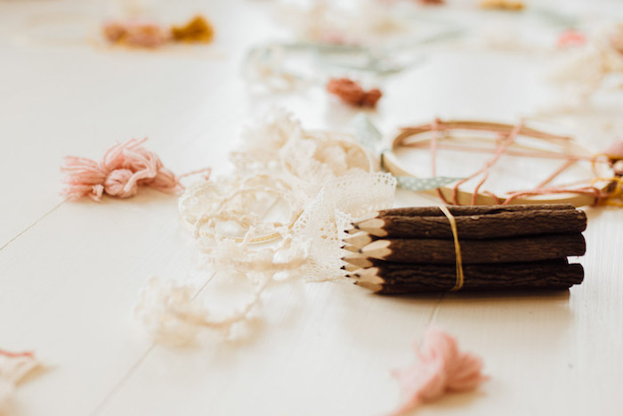 Dreamcatcher + Craft Table from a Modern Rustic Prairie Girl Party on Kara's Party Ideas | KarasPartyIdeas.com (19)