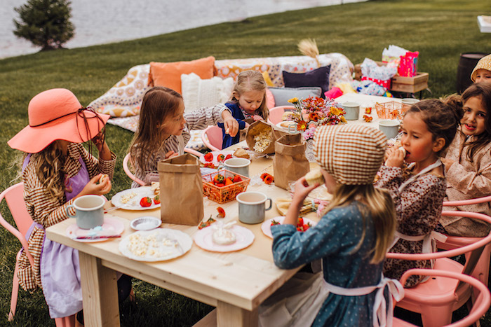 Kid Table from a Modern Rustic Prairie Girl Party on Kara's Party Ideas | KarasPartyIdeas.com (18)