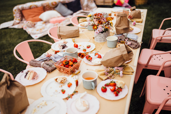 Kid Table from a Modern Rustic Prairie Girl Party on Kara's Party Ideas | KarasPartyIdeas.com (14)