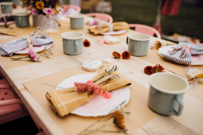 Prairie Girl Table Setting from a Modern Rustic Prairie Girl Party on Kara's Party Ideas | KarasPartyIdeas.com (43)