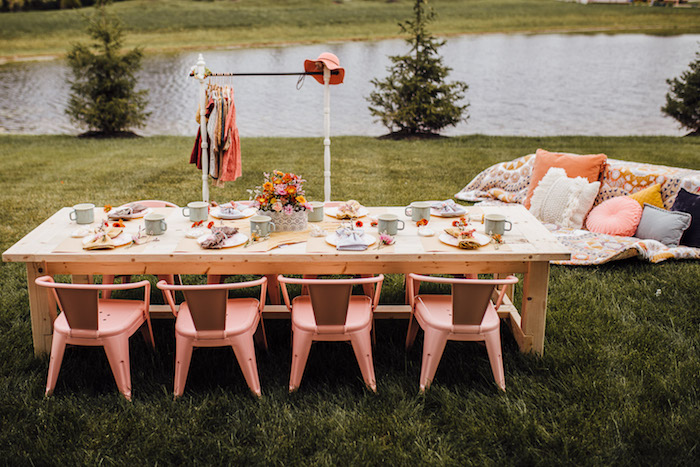 Prairie Girl Party Table from a Modern Rustic Prairie Girl Party on Kara's Party Ideas | KarasPartyIdeas.com (42)