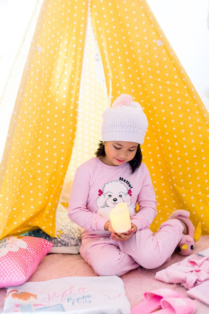 Slumber Tent from a Pajama Slumber Party on Kara's Party Ideas | KarasPartyIdeas.com (13)