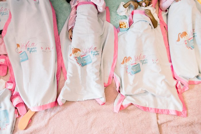Blanket Favors from a Pajama Slumber Party on Kara's Party Ideas | KarasPartyIdeas.com (5)