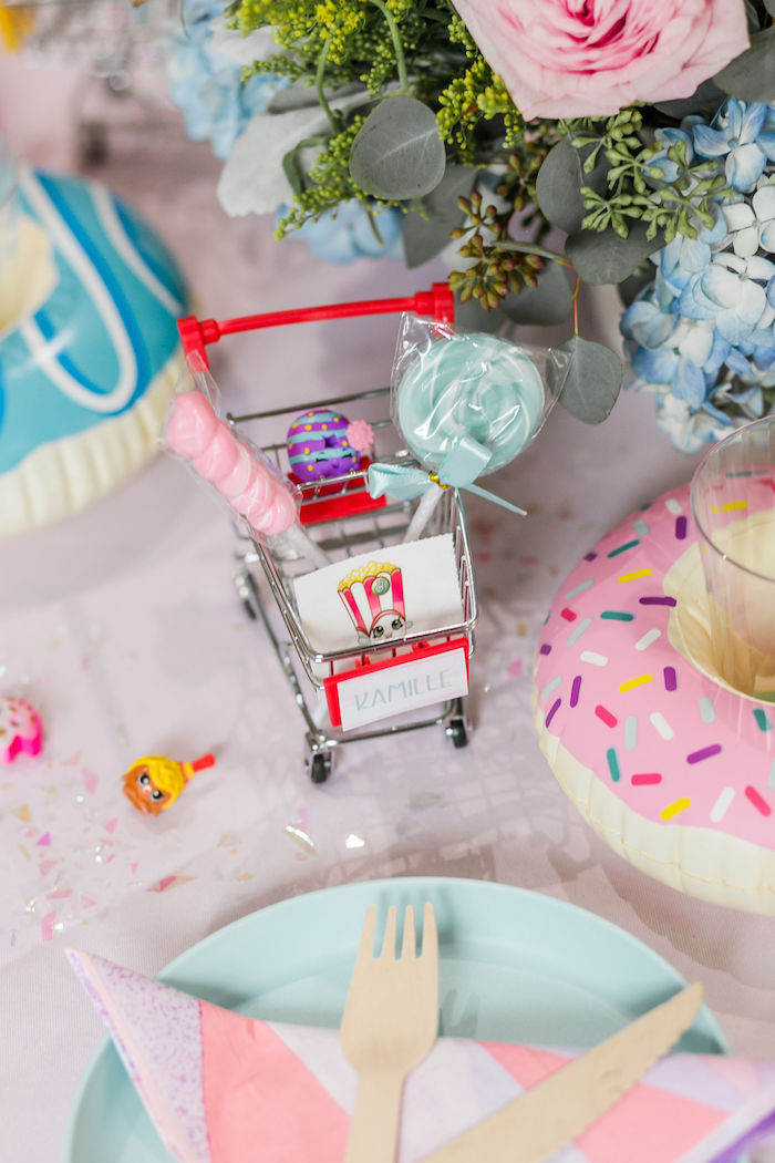 Mini Shopping Cart Place Card from a Pastel Shopkins Birthday Party on Kara's Party Ideas | KarasPartyIdeas.com (14)