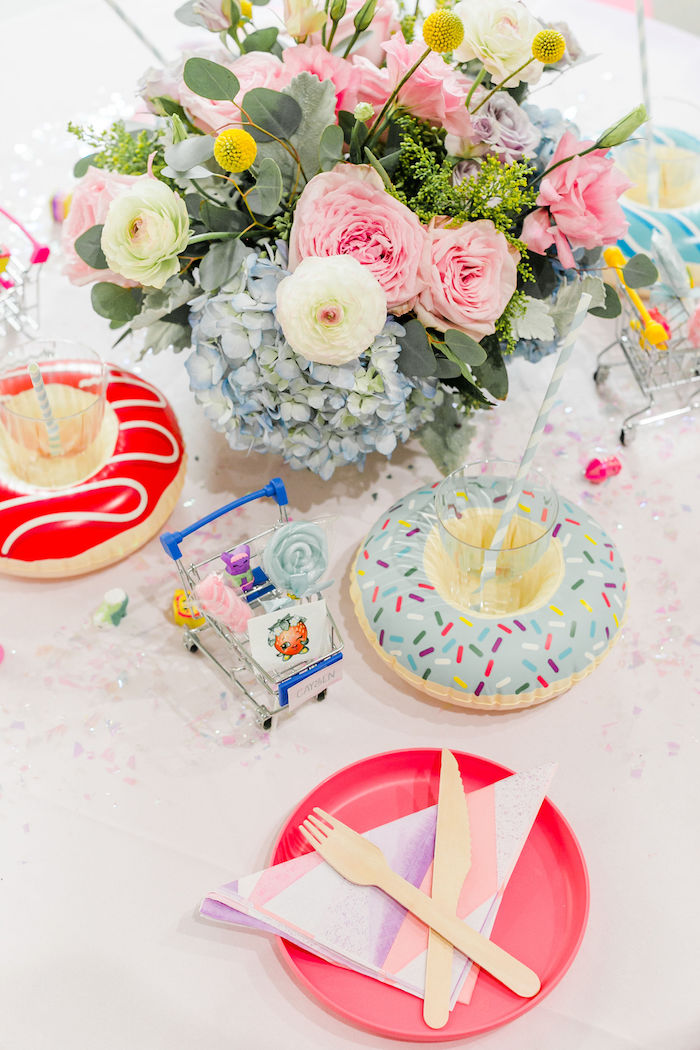 Shopkins-inspired Table Setting from a Pastel Shopkins Birthday Party on Kara's Party Ideas | KarasPartyIdeas.com (9)