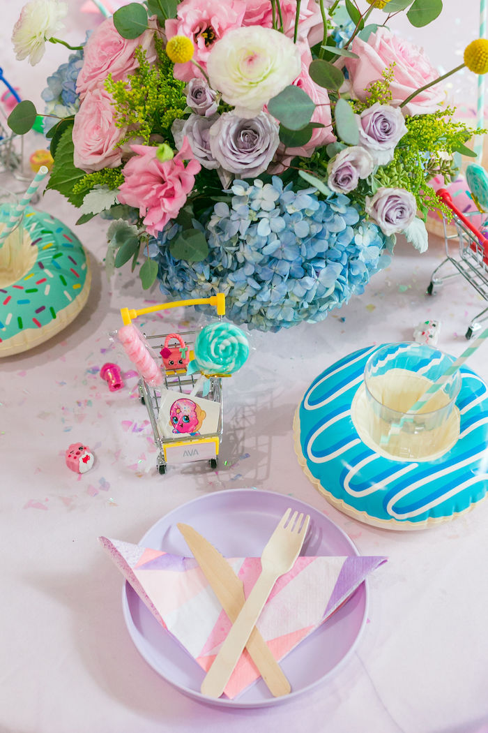 Shopkins Themed Table Setting from a Pastel Shopkins Birthday Party on Kara's Party Ideas | KarasPartyIdeas.com (26)