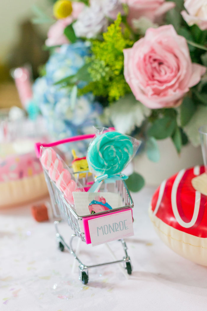 Mini Shopping Cart Place Card from a Pastel Shopkins Birthday Party on Kara's Party Ideas | KarasPartyIdeas.com (25)