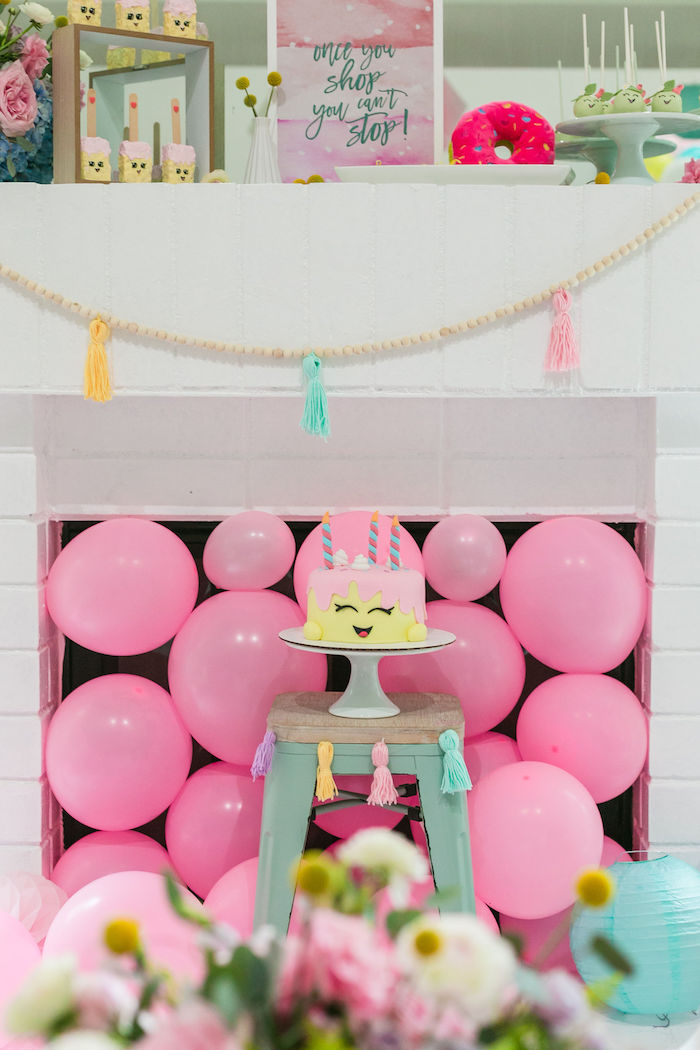 A Shopkins - Fireplace Dessert Spread from a Pastel Shopkins Birthday Party on Kara's Party Ideas | KarasPartyIdeas.com (23)