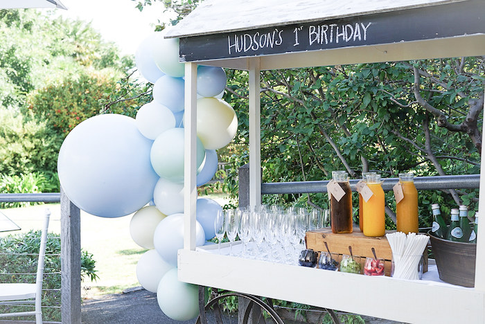 Balloon-adorned Beverage Cart from a Pastel Up, Up & Away Birthday Party on Kara's Party Ideas | KarasPartyIdeas.com (12)