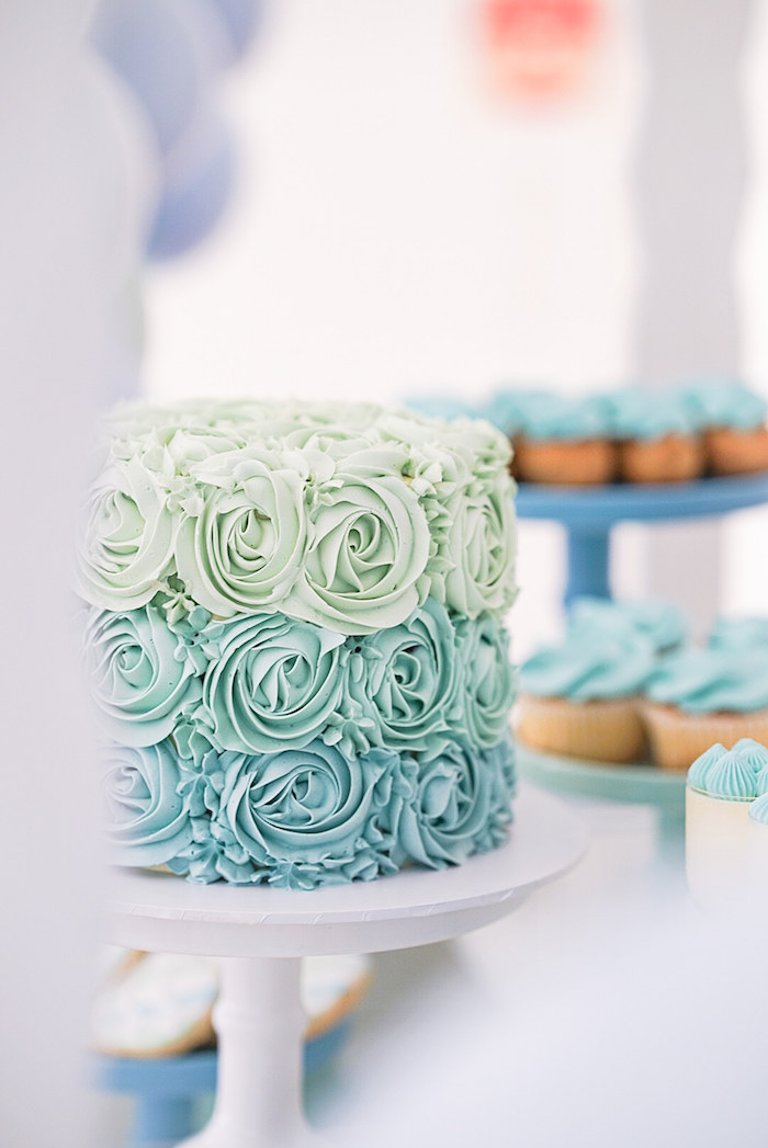 Green and Blue Ombre Rosette Cake from a Pastel Up, Up & Away Birthday Party on Kara's Party Ideas | KarasPartyIdeas.com (9)