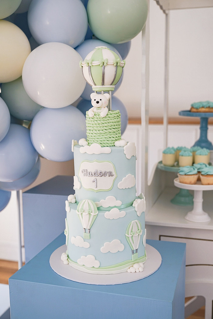Hot Air Balloon Cake from a Pastel Up, Up & Away Birthday Party on Kara's Party Ideas | KarasPartyIdeas.com (6)