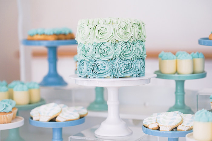 Green & Blue Ombre Rosette Cake from a Pastel Up, Up & Away Birthday Party on Kara's Party Ideas | KarasPartyIdeas.com (18)