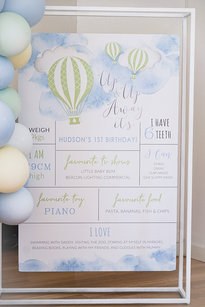 Hot Air Balloon Highlight Board from a Pastel Up, Up & Away Birthday Party on Kara's Party Ideas | KarasPartyIdeas.com (17)