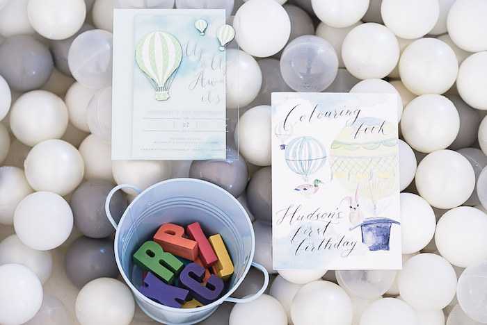 Hot Air Balloon Party Stationery from a Pastel Up, Up & Away Birthday Party on Kara's Party Ideas | KarasPartyIdeas.com (16)
