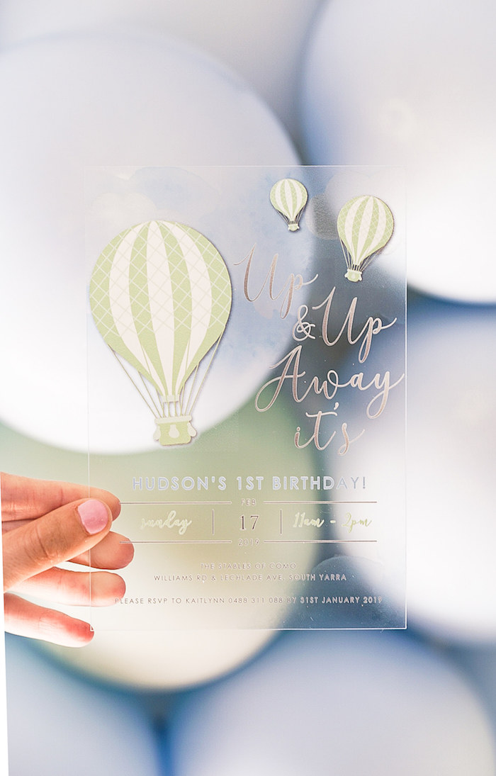 Translucent Up + Up Away Hot Air Balloon Party Invite from a Pastel Up, Up & Away Birthday Party on Kara's Party Ideas | KarasPartyIdeas.com (15)