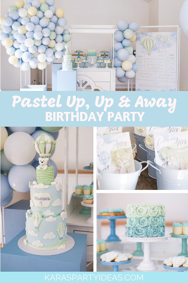 Pastel Up Up and Away Birthday Party via Kara's Party Ideas - KarasPartyIdeas.com