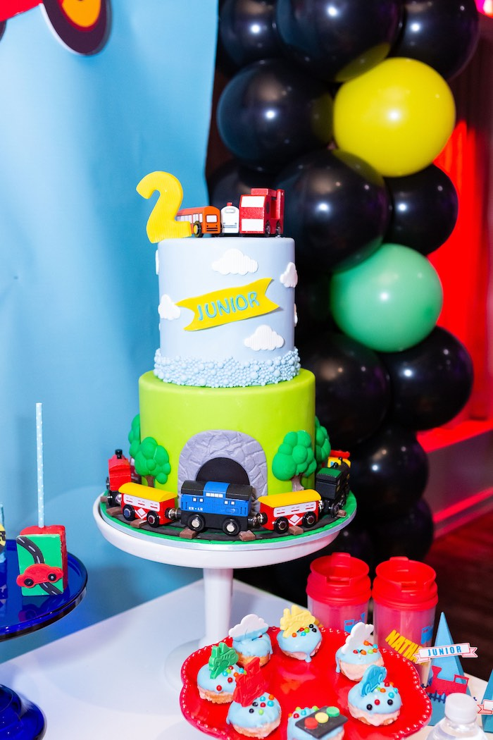 Transportation Train Cake from a Planes, Trains and Automobiles Birthday Party on Kara's Party Ideas | KarasPartyIdeas.com (19)