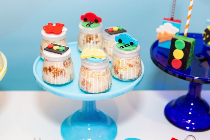 Transportation-topped Dessert Cups from a Planes, Trains and Automobiles Birthday Party on Kara's Party Ideas | KarasPartyIdeas.com (17)