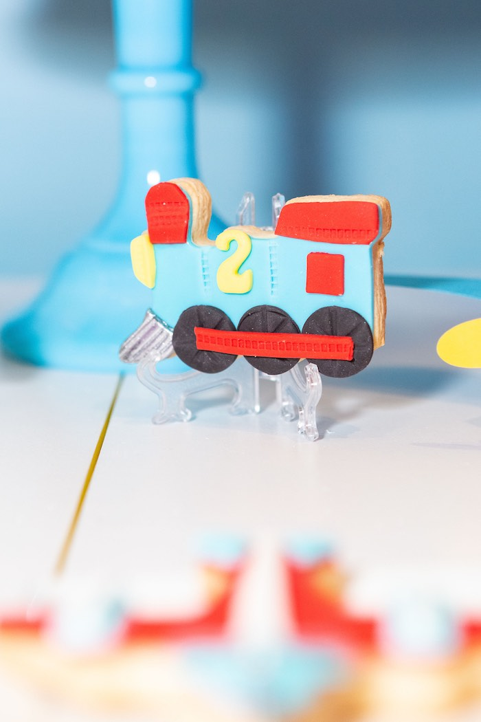 Train Sugar Cookie from a Planes, Trains and Automobiles Birthday Party on Kara's Party Ideas | KarasPartyIdeas.com (16)