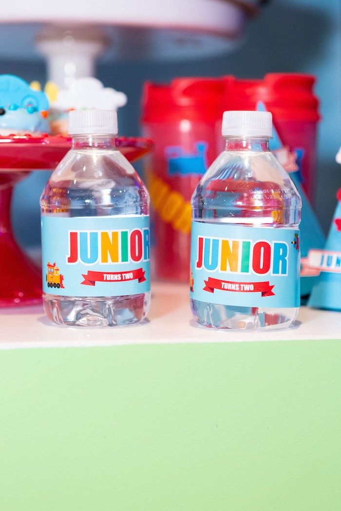 JUNIOR Water Bottles from a Planes, Trains and Automobiles Birthday Party on Kara's Party Ideas | KarasPartyIdeas.com (12)