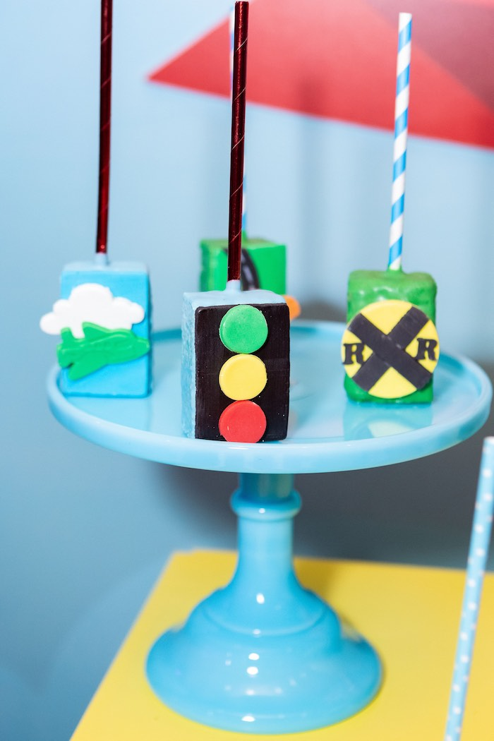 Street Sign + Transportation Pops from a Planes, Trains and Automobiles Birthday Party on Kara's Party Ideas | KarasPartyIdeas.com (9)