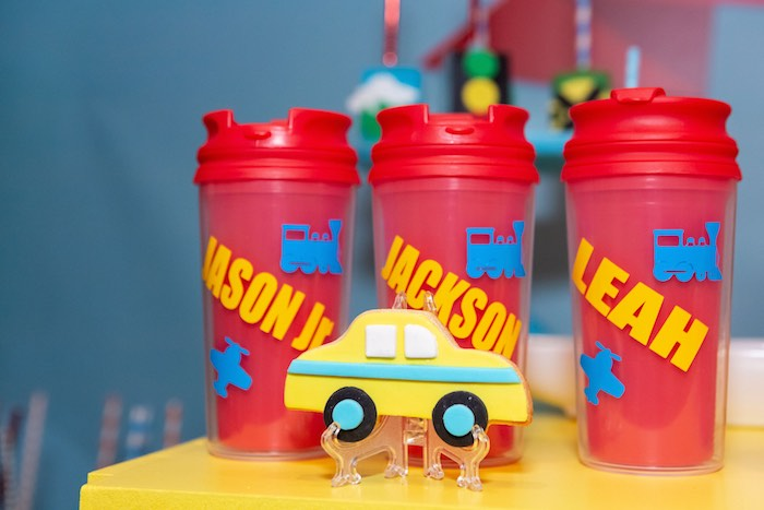 Car Cookie + Personalized Train Mugs from a Planes, Trains and Automobiles Birthday Party on Kara's Party Ideas | KarasPartyIdeas.com (8)