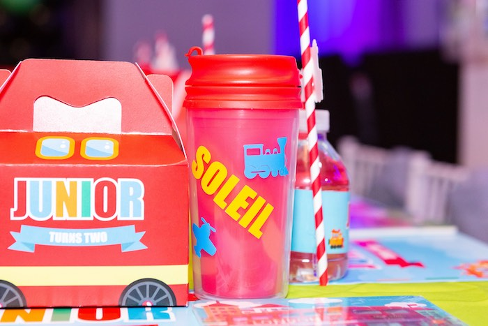 Personalized Train Cup from a Planes, Trains and Automobiles Birthday Party on Kara's Party Ideas | KarasPartyIdeas.com (28)