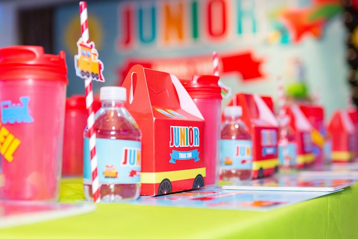 Bus-inspired Gable Lunch Box from a Planes, Trains and Automobiles Birthday Party on Kara's Party Ideas | KarasPartyIdeas.com (26)