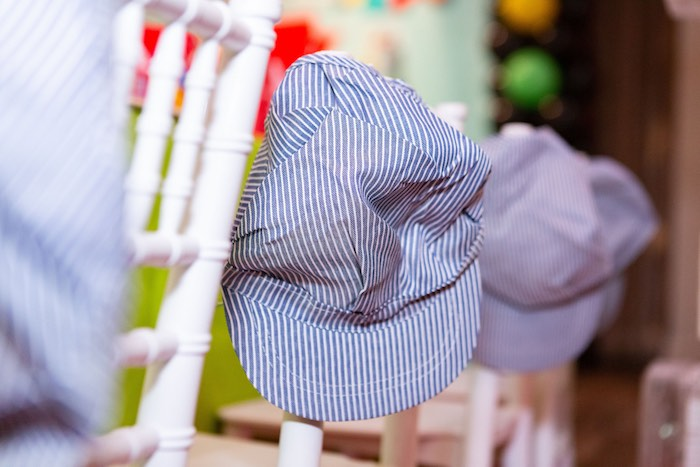 Conductor Hats Propped on Chairs from a Planes, Trains and Automobiles Birthday Party on Kara's Party Ideas | KarasPartyIdeas.com (25)