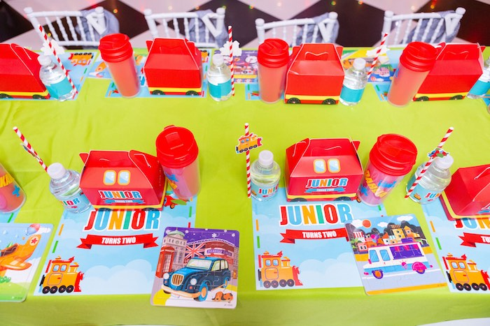 Transportation Themed Kid Table from a Planes, Trains and Automobiles Birthday Party on Kara's Party Ideas | KarasPartyIdeas.com (23)