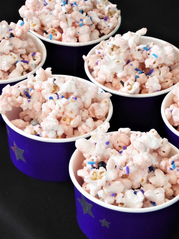 Galaxy Popcorn treat cups from a Twinkling Star Galaxy Party on Kara's Party Ideas | KarasPartyIdeas.com