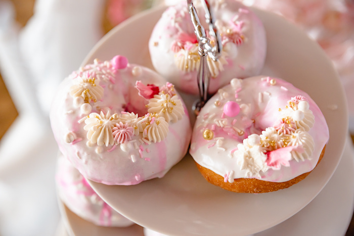 Glam Pink + White Doughnuts from a Pretty in Pink Baby Shower on Kara's Party Ideas | KarasPartyIdeas.com (16)