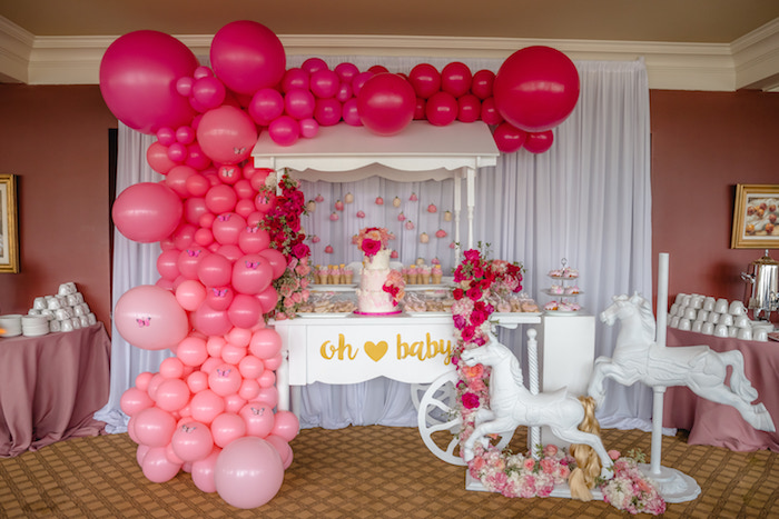 Oh Baby Dessert Cart Spread from a Pretty in Pink Baby Shower on Kara's Party Ideas | KarasPartyIdeas.com (15)