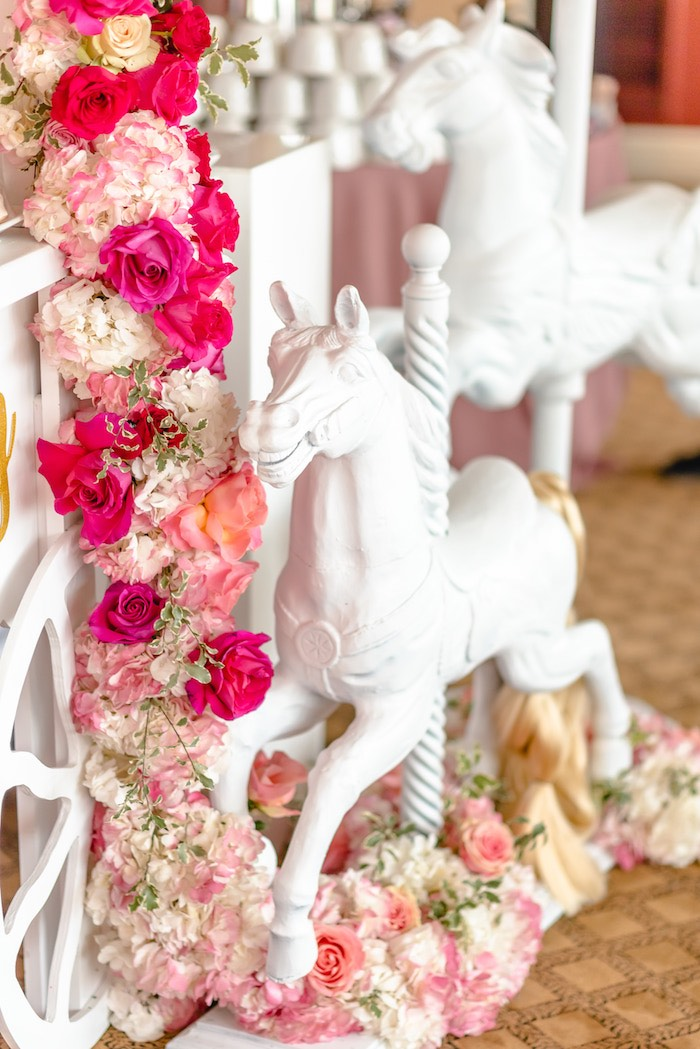 Carousel Horse + Floral Garland from a Pretty in Pink Baby Shower on Kara's Party Ideas | KarasPartyIdeas.com (11)