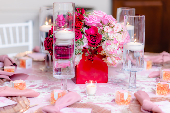 Rose & Floating Candle Table Centerpieces from a Pretty in Pink Baby Shower on Kara's Party Ideas | KarasPartyIdeas.com (7)