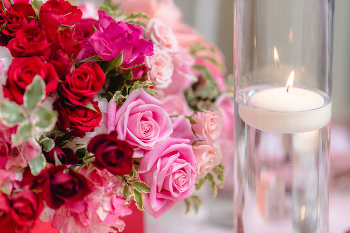 Rose Floral Arrangement + Floating Candle Table Centerpieces from a Pretty in Pink Baby Shower on Kara's Party Ideas | KarasPartyIdeas.com (5)