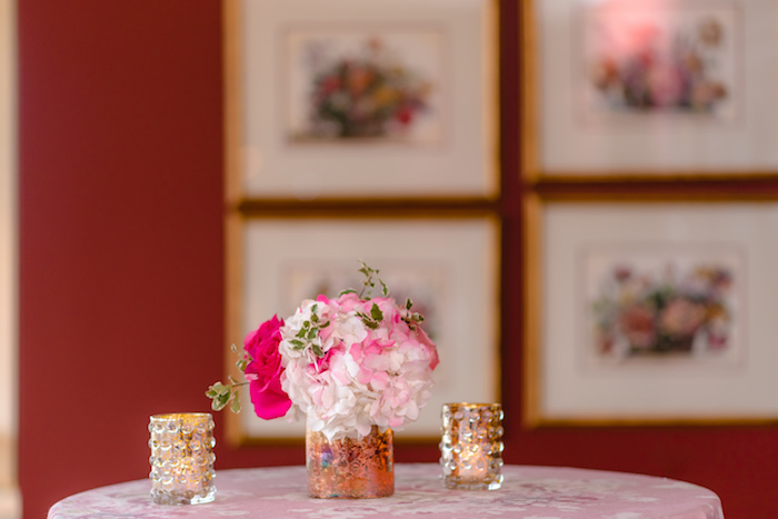 White + Pink Florals + Gold Vases from a Pretty in Pink Baby Shower on Kara's Party Ideas | KarasPartyIdeas.com (4)