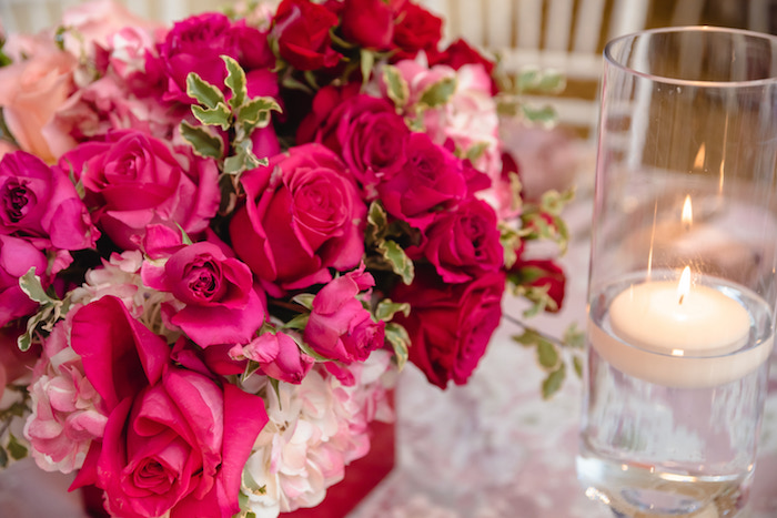 Pink Rose Floral Arrangement from a Pretty in Pink Baby Shower on Kara's Party Ideas | KarasPartyIdeas.com (24)