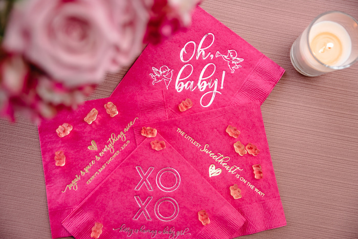 Customized Hot Pink Napkins from a Pretty in Pink Baby Shower on Kara's Party Ideas | KarasPartyIdeas.com (19)