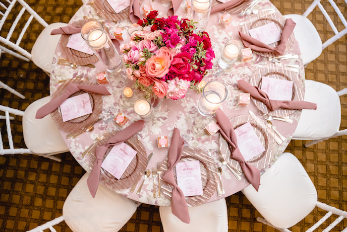 Pretty Pink Guest Table + Place Settings from a Pretty in Pink Baby Shower on Kara's Party Ideas | KarasPartyIdeas.com (18)